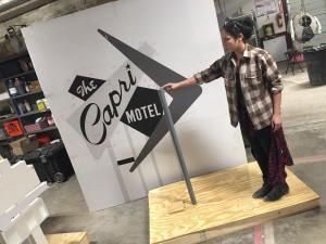 Miniature vintage motel sign models- Kelsey compares scale