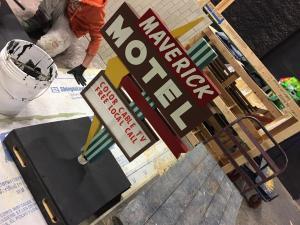 Miniature vintage motel sign models- Maverick unweathered