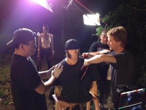blood fx torso slice crew on set